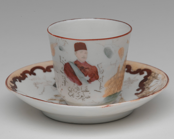 Tea cup and saucer decorated with a portrait of General Charles Gordon, c1885
