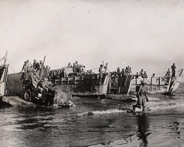 Troops landing on Akyab Island, 1945