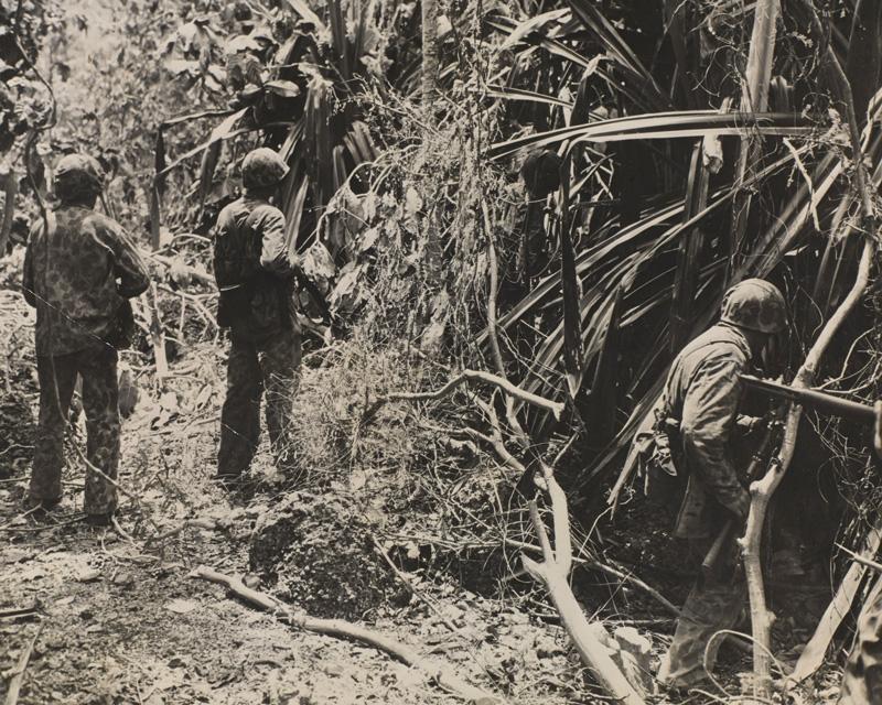 American Marines advancing through the jungle, 1944