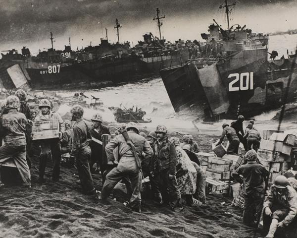 Landing supplies at Iwo Jima, February 1945