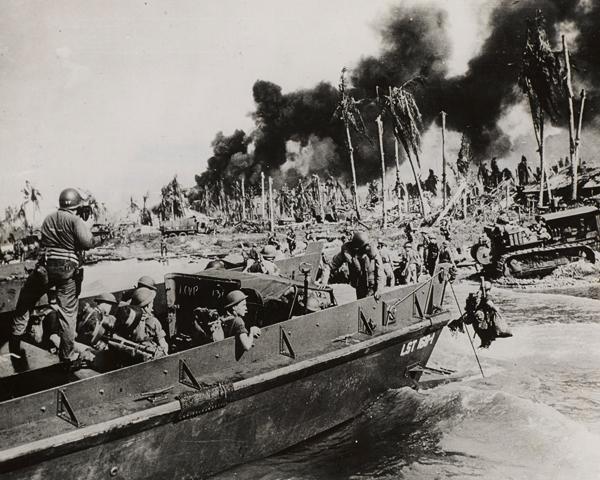 Australian troops landing at Balikpapan, south east Borneo, April 1945