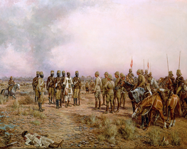 Major-General Herbert Kitchener meets the Emir Mahmud at Atbara, April 1898