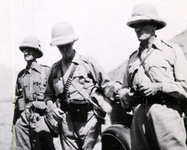 Brigadier Claude Auchinleck (right) with fellow officers during the Mohmand Expedition, 1935