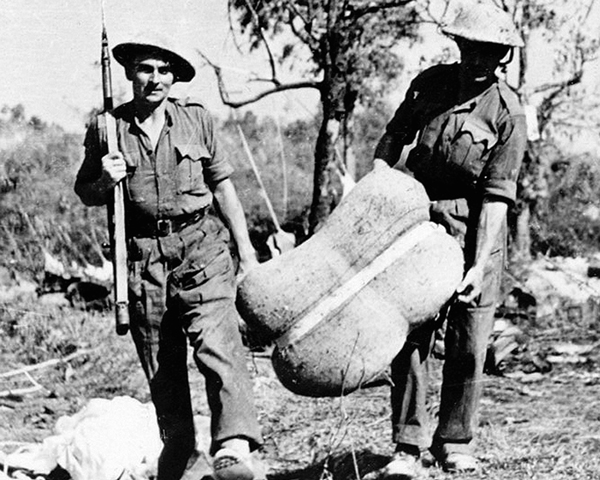 Collecting supplies dropped into the 'Admin Box', February 1944