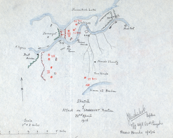 Sketch of attack on the Sannaiyat position in Mesopotamia by Captain Claude Auchinleck, 22 April 1916