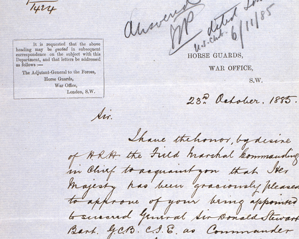 Letter informing Lieutenant General Sir Frederick Roberts of his appointment to be the next Commander-in-Chief in India, 23 October 1885