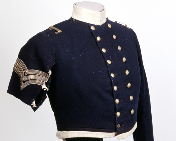 Coatee worn by Sergeant Frederick Peake, 13th Dragoons, during the charge, c1854