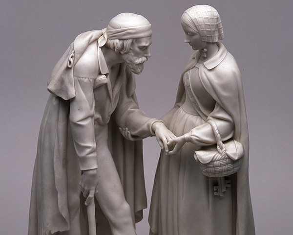 Statuette of Florence Nightingale helping a wounded soldier, 1856