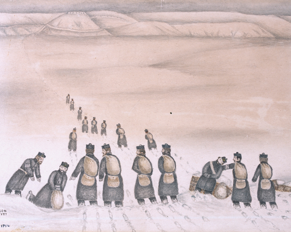 Soldiers carrying supplies in the snow, 1854