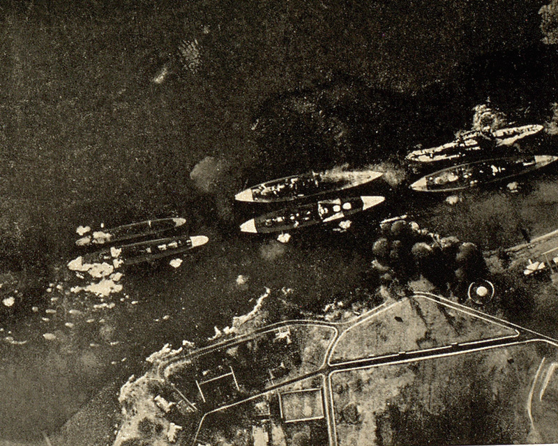 American ships under attack at Pearl Harbour, 7 December 1941