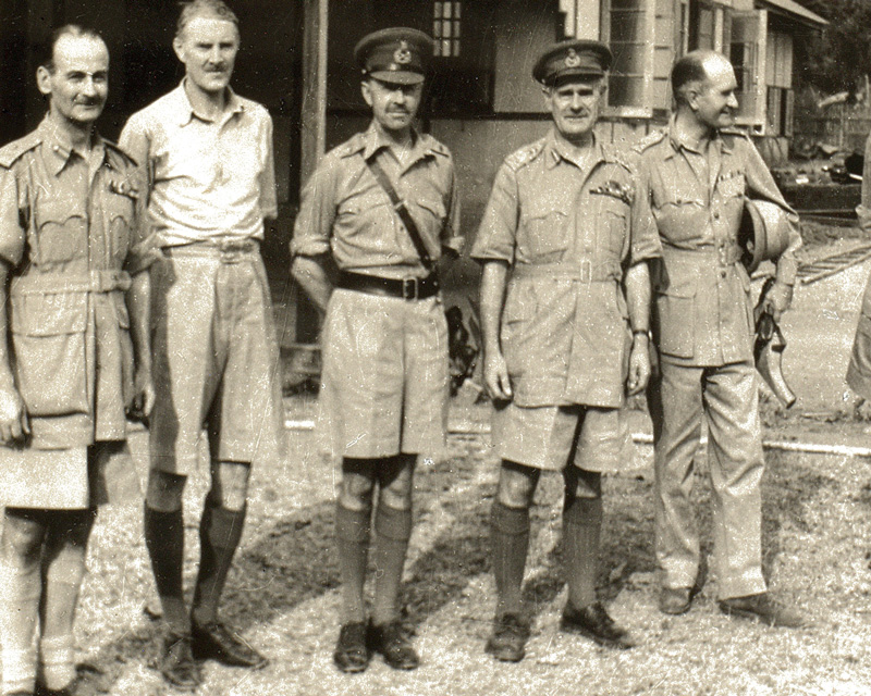 British commanders, including Generals Alexander (third left), Wavell (fourth left) and Slim (second right), 1942