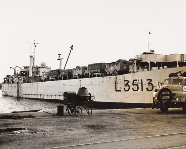 HMS 'Salerno', a landing craft tank, at Port Said, 1956