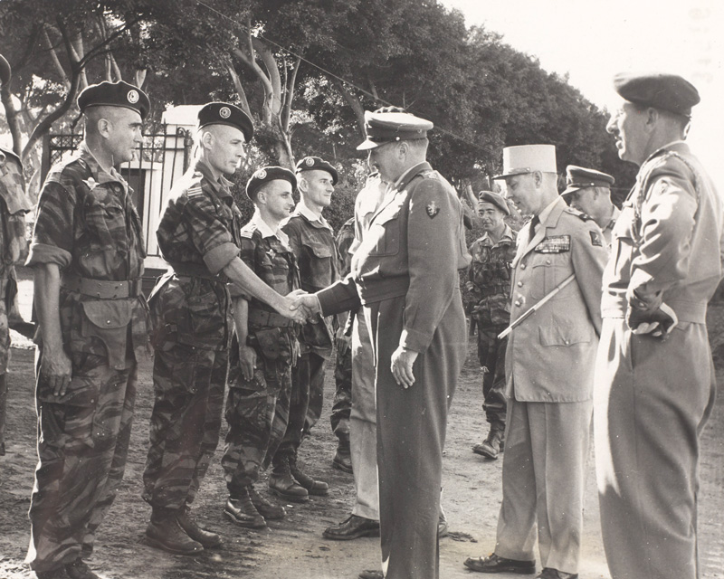 General Sir Charles Keightly, Commander in Chief of Operation Muskateer, meets French paratroopers at Suez, 1956