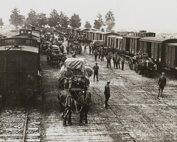 Drawing rations from the railhead, Ecuires, June 1917