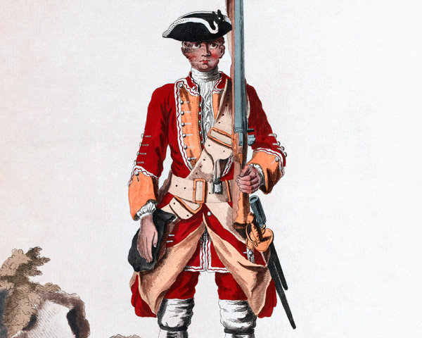 A soldier of the 16th Regiment of Foot, 1742