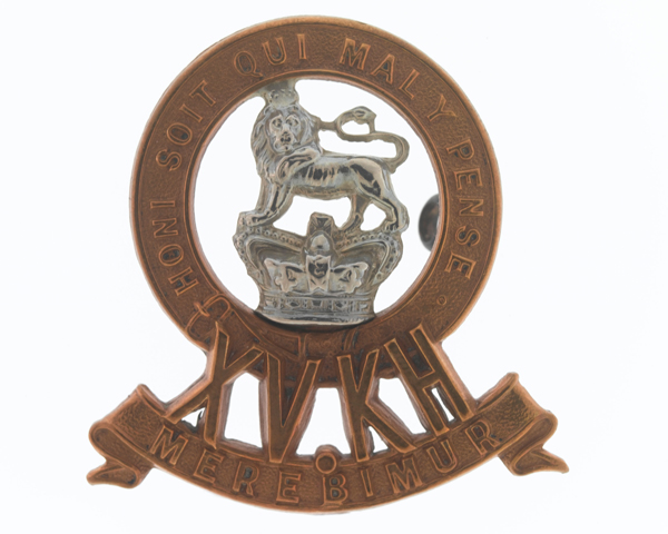 Cap badge, other ranks, 15th (The King's) Hussars, c1900