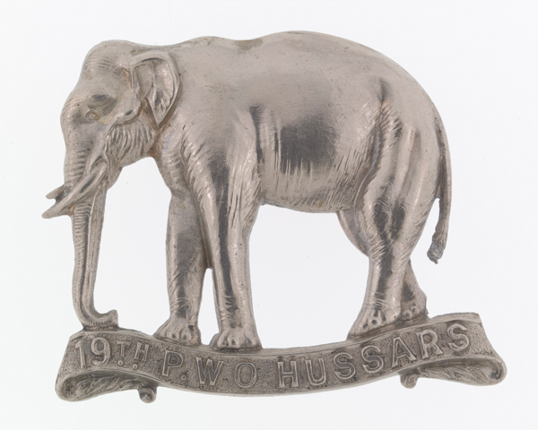 Officers' cap badge, 19th (Princess of Wales's Own) Hussars, c1896