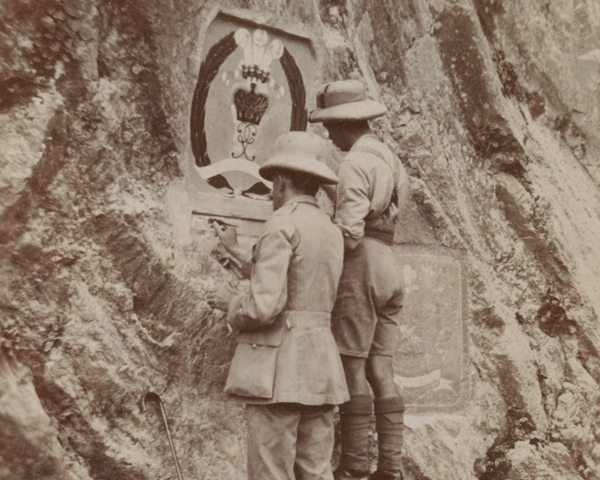 Regimental Sergeant Major Leonard Drinkwater painting the Middlesex badge in the Khyber Pass, 1925