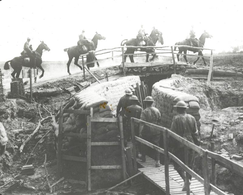 Cavalry crossing a bridge near Neuve Eglise, 7 May 1917