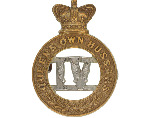 Other ranks' cap badge, 4th (Queen's Own) Hussars, c1900