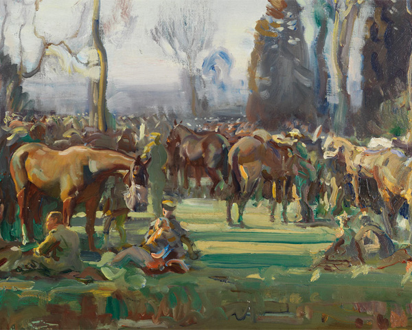 'Halt on the March by a Stream at Nesle' by Alfred Munnings