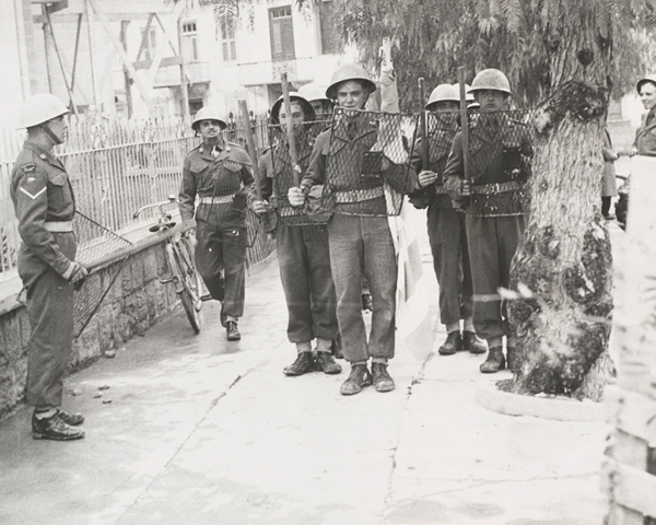 Men of the South Staffordshire Regiment on riot duty in Nicosia, 1956