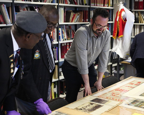Workshop participants exploring archives relating to the history of West Indian soldiers