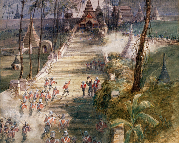 The 18th and 80th Regiments storming the Shwe-Dagon Pagoda Rangoon, 1852
