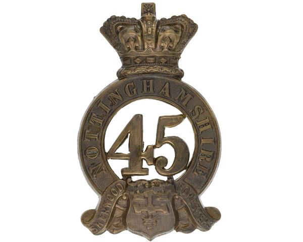 Glengarry badge, 45th (Nottinghamshire) (Sherwood Foresters) Regiment of Foot, 1874
