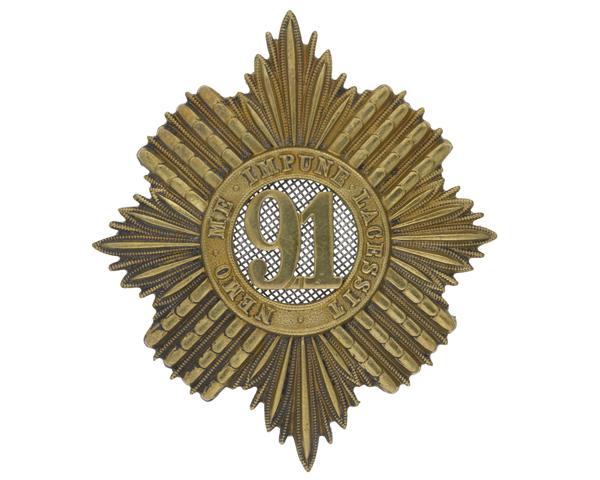 Glengarry badge, 91st (Princess Louise's Argyllshire Highlanders) Regiment, c1874