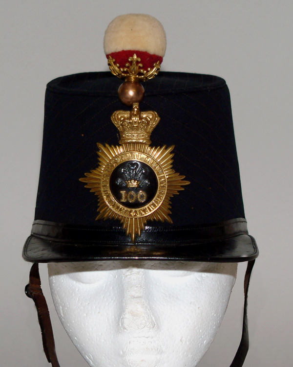 Shako worn by Lieutenant W Richie, 100th (Prince of Wales's Royal Canadian) Regiment, 1864