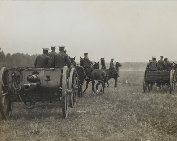 18-pounder battery towed into position on the Western Front, c1914