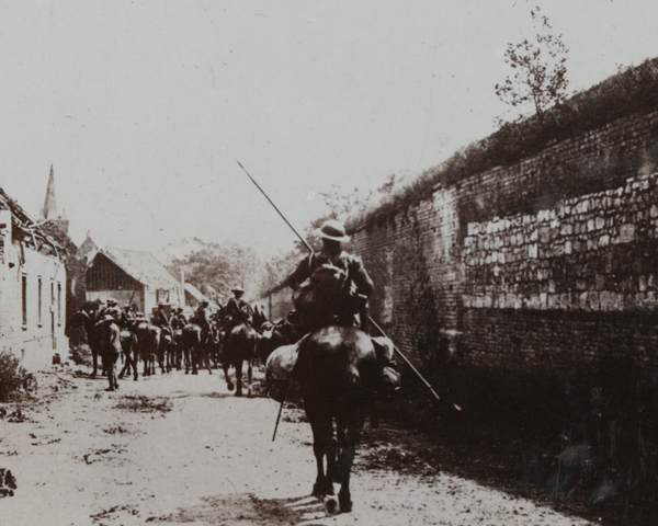 British cavalry pass through Beaucort-en-Santerre, 9 August 1918