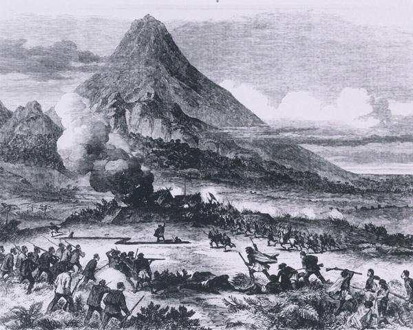 The 57th Regiment taking a Maori redoubt on the Katikara River, Taranaki, 1863