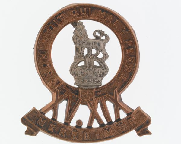 Cap badge, 15th/19th Hussars, c1922