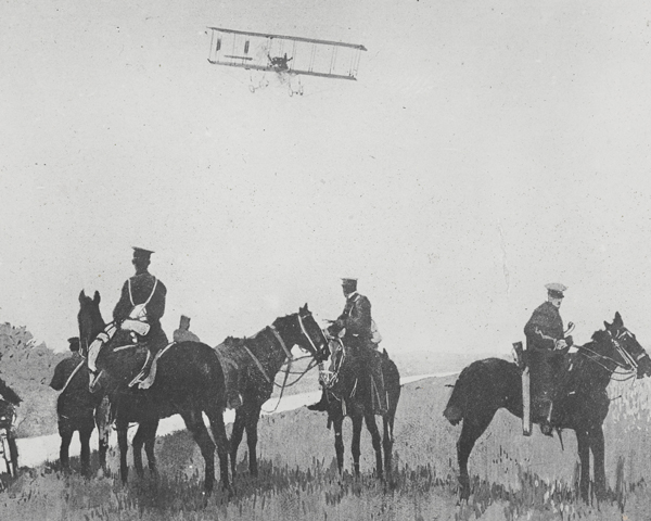 Cavalry and an aircraft returning from a patrol, 1914