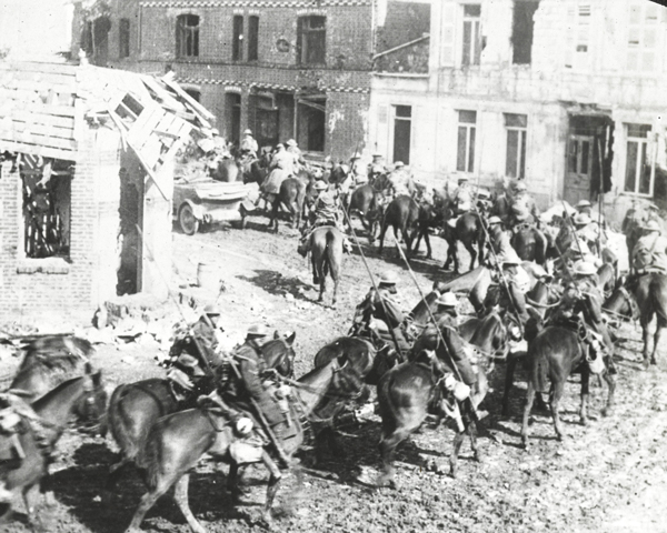 British cavalry riding through Arras, 11 April 1917