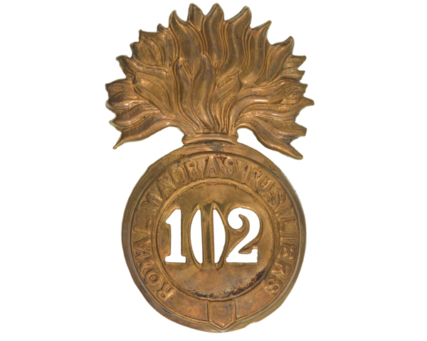 Glengarry badge, 102nd Regiment of Foot (Royal Madras Fusiliers), c1874