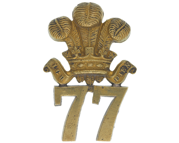 Glengarry badge, 77th (East Middlesex) Regiment, c1874