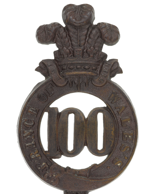 Glengarry badge, 100th (Prince of Wales's Royal Canadian) Regiment, c1874