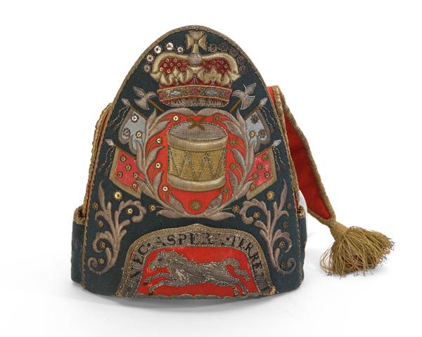 Drummers' mitre cap, 13th Regiment of Dragoons, 1751