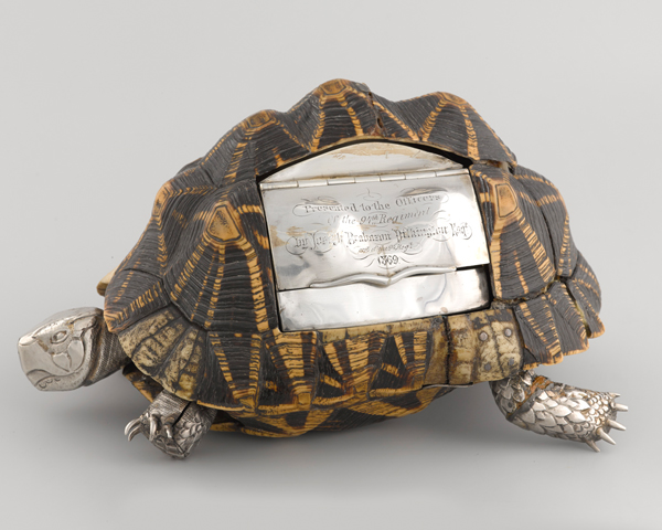Tortoise shell snuff mull from the 94th Regiment's mess silver, c1869