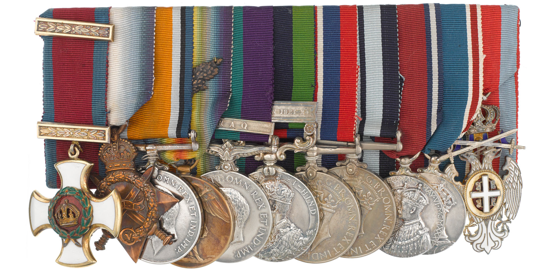 Distinguished Service Order (left) and campaign medals awarded to Captain Heerajee Cursetjee, 1914-46