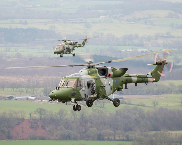 Two AAC Lynx Mk 9A Helicopters in formation, 2015