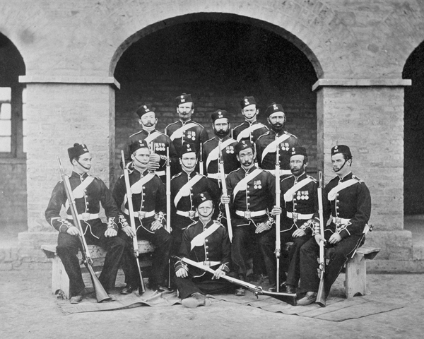 Soldiers of the 101st Regiment of Foot (Royal Bengal Fusiliers) at Rawalpindi, 1864