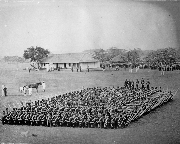 45th (Nottinghamshire) Regiment forming square in drill, India, 1860
