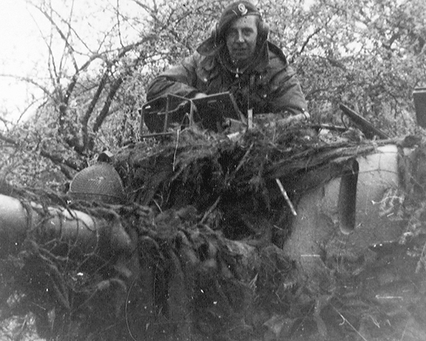Trooper Croft in the turret of his Challenger, Teutoberger Wald, April 1945