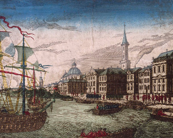 Troops embarking from ships in New York, 1776