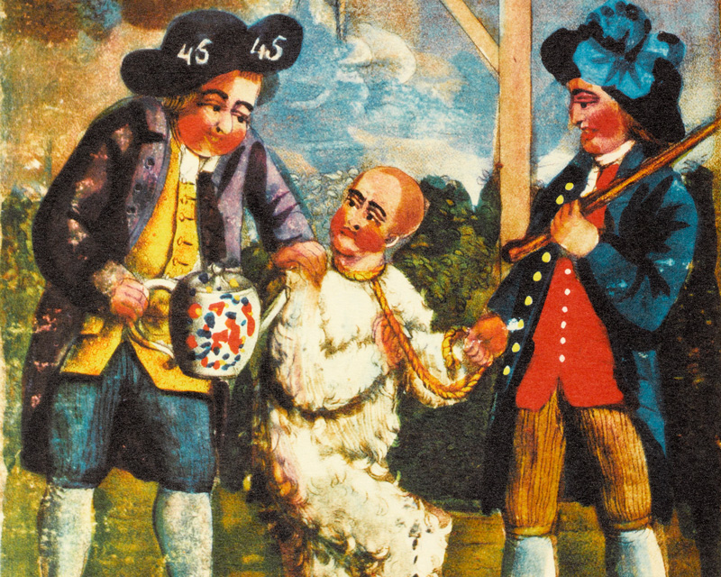Boston patriots tarring and feathering a British customs officer, 1774
