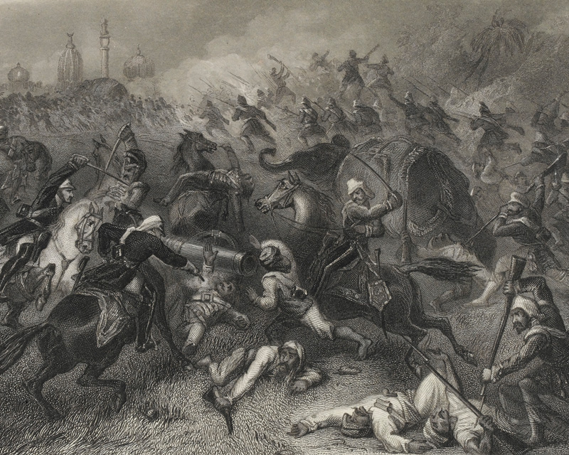 Major-General Sir Henry Havelock's relief force engaging the rebels at Cawnpore, 1857
